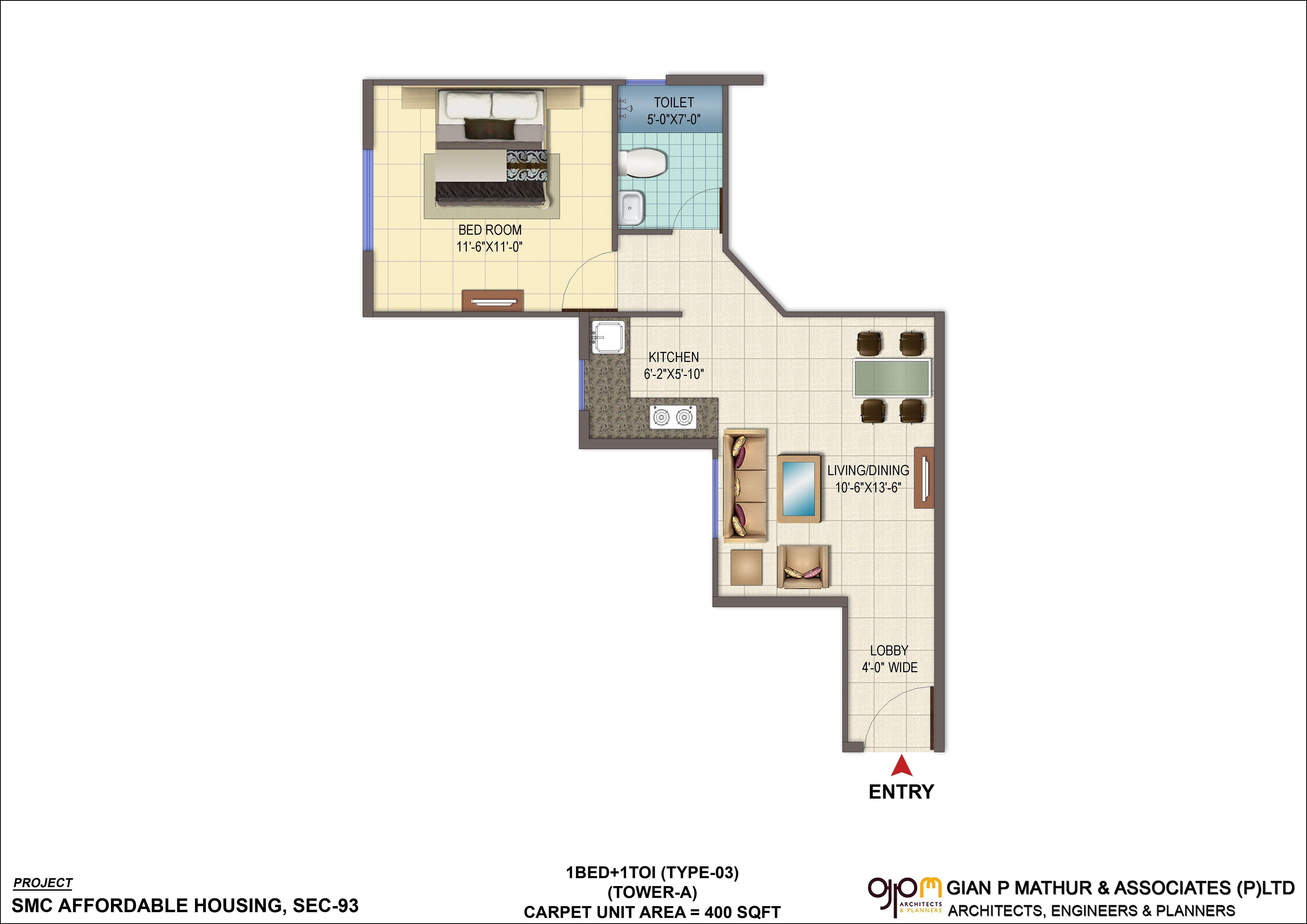 New affordable signature global orchard avenue sec 93 for 1 bhk floor plan